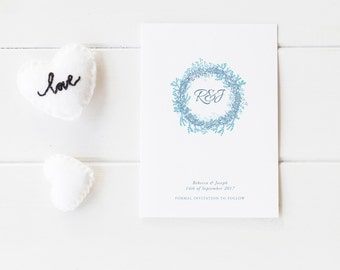 Save The Date / Engagement Wedding Invitation - Cotton Card - Wreath Save The Date Invitation