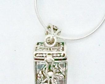 Tibetan Silver Box Charm, Amulet Box,Bohemian Silver Jewelry, Sterling Silver Pendant, Hippie Style, Unisex Charm (P 43)