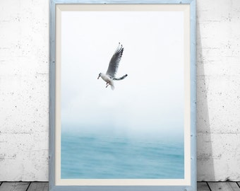 seagull print, bird print, beach decor, seagull art, bird art, coastal art, wall art, coastal decor, Wall Art Print, Water print