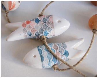 Handmade Coral Red Ceramic Fish Mobile