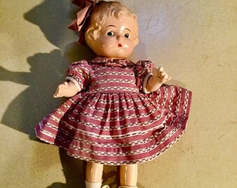 "Antique 1920s 15"" Composition Little Girl Doll with Bow Loop Fully Dressed"