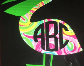 Lilly Pulitzer inspired Pelican monogram decal