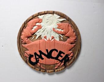 Vintage Cancer Zodiac Plaque