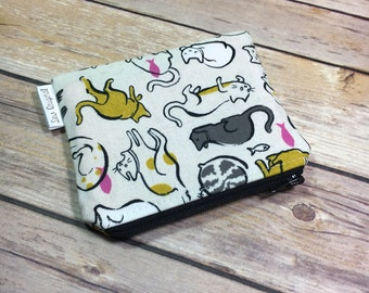 Fabric Coin Pouch, Zippered Pouch, Coin Purse, Change Purse, Cat Lady Fabric, Small Wallet, Card Wallet, ID Wallet