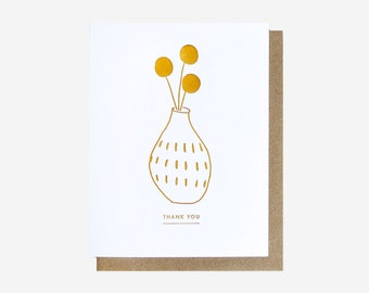 Letterpress Thank You Flora Card