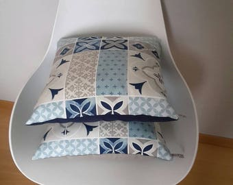 Pillow cover with geometric cement tiles, vintage style
