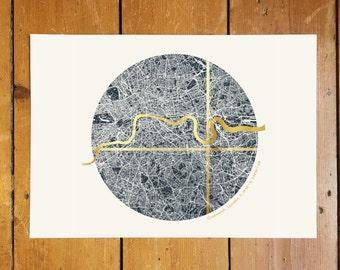 Custom Circular London Coordinates Map - Gold Foil