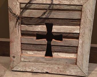 Authentic Minnesota Barn Wood Cross Wall Hanging