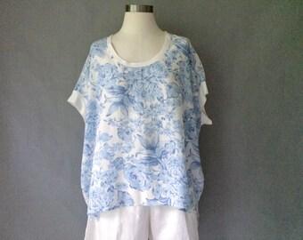 Vintage floral short sleeve blouse women's size M/L/XL