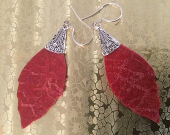 925 Sterling Silver Red Coral Earrings