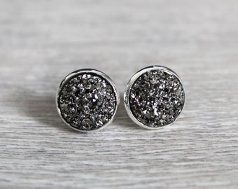 Druzy earrings anthracite