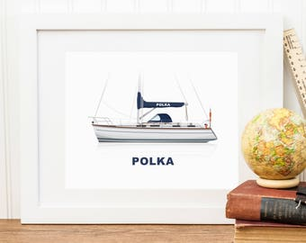 Personalised Boat Illustration Print