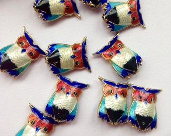 Owl Cloisonne Beads, Owl Beads, Cloisonne Beads, Craft Supplies, Beading Supplies, Jewellery Making Supplies
