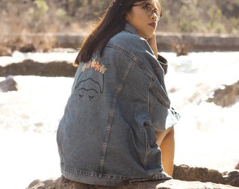 Vintage Levi's Denim Jacket with Frida Embroidery on Back