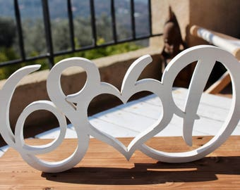 Initials linked by a heart, wedding decoration