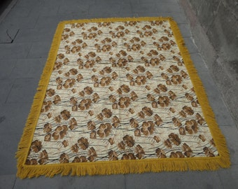 Turkish velvet bedspread,vintage tablecloth,wall hanging rug,74 x 55 inches