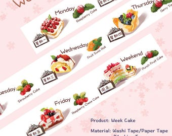 Food Cake Washi Tape Week cake,scrapbooking planner stickers,DiY,Paper Decorative masking Tape