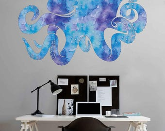 kcik1884 Full Color Wall decal Watercolor Octopus animal living room children's room