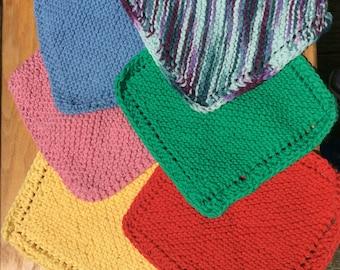 Cotton Hand Knit Dishcloht / Facecloth