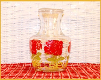 Vintage Anchor Hocking Red Roses Glass Juice Carafe Pitcher & Lid - 1950's