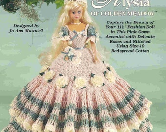 55. Barbie fashion doll dress, crochet pattern in pdf, Princess Barbie dress crochet pattern in pdf