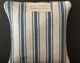 Handmade sachet pillow, filled with balsam fir from Maine, covered in cotton ticking, made in New England