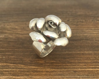 Sterling Silver Flower Statment Ring, flower ring, silver ring, chunky ring,
