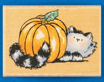 Cat with Pumpkin Rubber Stamp by Penny Black - Cute Tabby Cat Stamp for Fall or Halloween