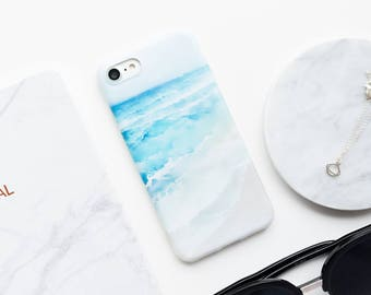 Painted Waves iPhone Case - Waves iPhone 7 Case, Marble iPhone Case, Painting iPhone Case, Minimalist iPhone Case, iPhone 7 Case, Art, Blue