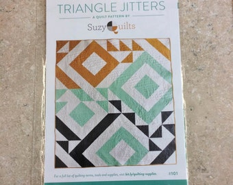 Suzy Quilts Triangle Jitters PAPER Pattern  Modern Quilt Pattern Beginner Quilt Pattern