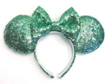 Mint Sequin Mouse Ears - Sea Foam Green Sequin Mouse Ears - Handmade Mouse Ears - Sparkly Mouse Ears Handmade -