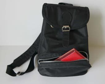 Vintage Black Backpack,  Black Mini Rucksack, Mini Backpack