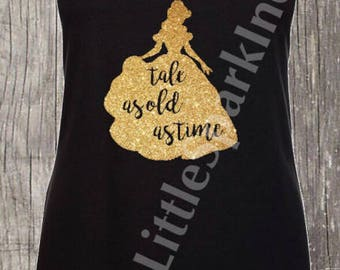 Beauty and the beast / tale as old as time disney princess tank / be our guest / his beauty / disney family matching