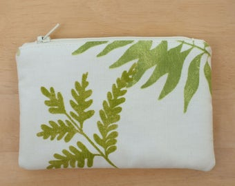Fern Cotton Purse, Jewellery, Fabric Make up Bag,  Small Accessory Pouch