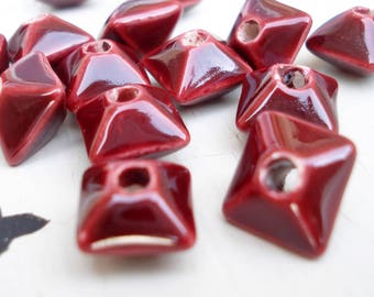 Byzantine Red Ceramic Oxyhedron Bead 12x8mm , Pack of 10, Mykonos Beads, Greek Ceramics