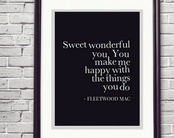 Fleetwood Mac Print You Make Loving Fun 5 Year Anniversary 1 Wedding Song Artwork