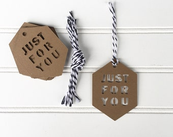 Just For You Kraft Cardstock Gift Tag Set of 12