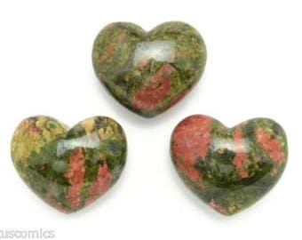 Lot of 3 Unakite Puffy Hearts Hand Carved Gemstone With Free Pouch