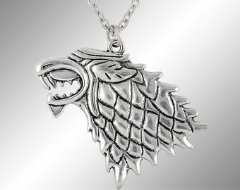 Game of Thrones House Stark King of the North Dire Wolf sigil necklace