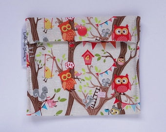 Snack bag - Small - party owls - reusable - Zero waste