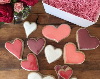 Sugar Cookies- One dozen assorted Valentine hearts boxed