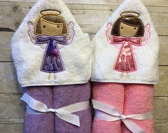 Angel hooded towel, little girl hooded towel, kids bath towel, pool towel, beach towel, gift for kids,kids birthday gift, gift for baby girl