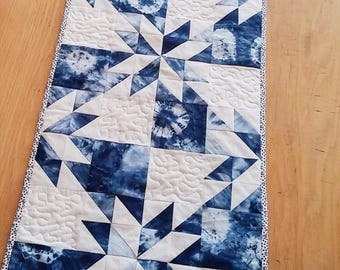 Shibori Table Runner, Quilted Table Runner, Indigo Table Runner, Shibori Dyed Table Runner, Shibori Table Decor
