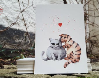 Postcard - cat love - postcard A6