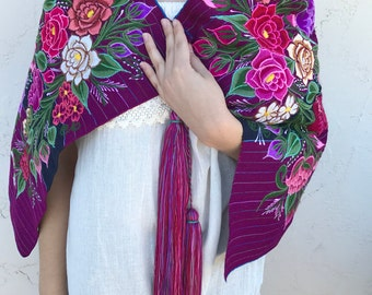 Beautiful and Colorful Cape Handmade Embroidered Uniquely Made by Zinacanteca Women in Chiapas, Mexico. Ready to Ship!