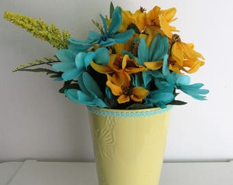 Turquoise and Yellow Themed Silk Flower Arrangement in a Butterfly Embossed Vase with Fabric Trim