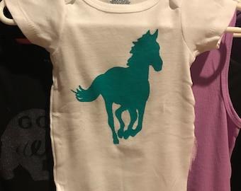 Onesie 0-3 months teal horse