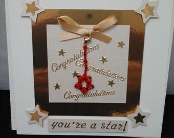Congratulations card,  keepsake card,  congratulations keepsake card, you're a star card, star charm, well done card, congratulations