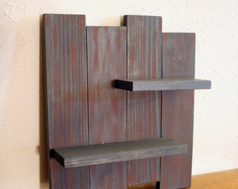 Rustic Wood Wall Shelf-  Reclaimed Wood Shelf-  Distressed Wood- Primitive Home Decor-  Burgandy & Gray Wall Decor