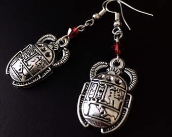 Scarab Earrings, Egyptian Scarab, Egyptian Jewelry, Silver Beetle Jewelry, Gothic Earrings, Scarab Beetle, Hieroglyphics, Beetle Jewelry